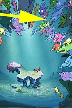 """Don Knotts' Henry Limpet fish character from The Incredible Mr. Limpet can be seen among the crowd at the end of the """"Under the Sea"""" sequence in The Little Mermaid.   22 More Disney Movie Easter Eggs You May Have Never Noticed"""