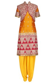 Yellow embroidered kurta and salwar pants with red jacket available only at Pernia's Pop Up Shop.