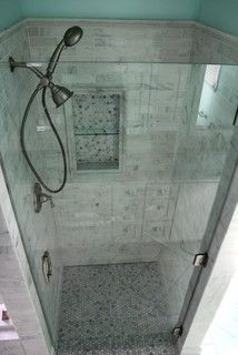 Glass accent tile shower designs vertical tile design Bathroom design centers atlanta