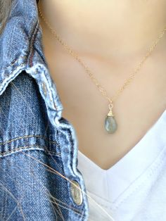 14k gold filled Aquamarine Necklace,Moss Aquamarine Necklace,Aquamarine Jewelry,Wire Wrapped,Bridesmaid Sets,Beach Wedding,March Birthstone by LetItBeLove on Etsy