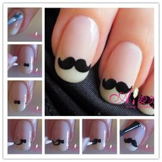See more about mustache nail art, mustache nails and moustache nails. Cute Nail Art, Cute Nails, Pretty Nails, Classy Nails, Fancy Nails, Nail Art Moustache, Movember Mustache, Mustache Party, Mustache Man
