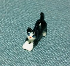 Miniature Ceramic Cat Kitty Baby Mini Animal by thaicraftvillage