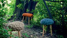 knitted wool stool by gan 7