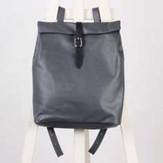 Gray leather backpack rolltop rucksack / To order