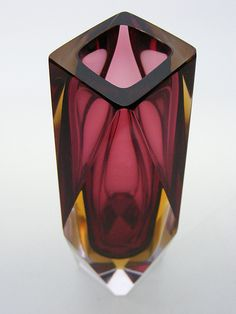 Murano sommerso faceted glass vase