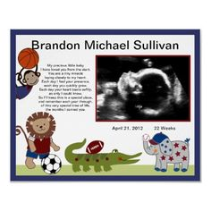 Safari Team/Sports Animals Ultrasound Poster  http://www.zazzle.com/personalizedbydiane*