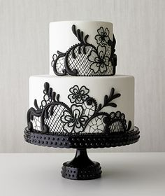 simple black and white lace cake