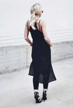 Mary is dressed in all black; maxi dress, black skinny jeans and heels Dress: Guess, Jeans: Guess, Shoes: Guess