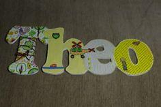 Nome em MDF, decorado com tecido 100% algodão e com o tema escolhido. Pode ser utilizado para decorar quarto, porta de maternidade e festa infantil. Faço nas cores e tamanhos desejados