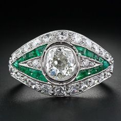 Trendy Diamond Rings : .85 Carat Diamond and Emerald Art Deco Ring