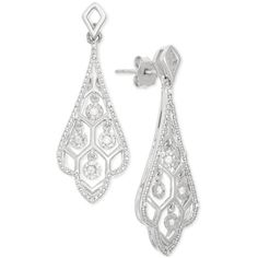 Diamond Swirl Drop Earrings (1/10 ct. t.w.) in Sterling Silver ($250) ❤ liked on Polyvore featuring jewelry, earrings, no color, diamond drop earrings, diamond earrings, diamond jewelry, chandelier drop earrings and diamond earring jewelry