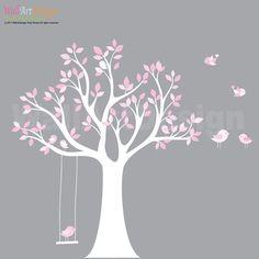 Custom Listing Vinyl Wall Decal Stickers Bird White Tree Set Nursery Wall Sticker with swing