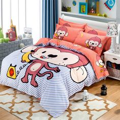 Find More Bedding Sets Information about Children Cute Monkey Single Twin Queen Size Sanding Bedding Set 3 4pcs Duvet Cover Sheet housse de couette Totoro cama bedding,High Quality sheet acetate,China sheet for Suppliers, Cheap bedding sheet from Top Qulity Human Hair Factory on Aliexpress.com