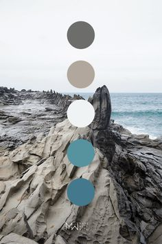 Natural Color Palette - Blue and gray color palette inspired by nature. Photo taken of Dragon's Teeth on Maui Hawaii. Palette Art, Nature Color Palette, Blue Colour Palette, Colour Schemes, Gray Color, Color Trends, Color Psychology, Psychology Memes, Color Balance