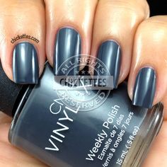 CND Vinylux Asphalt. It's rather gray than bluish (like photo). Available at www.esthersnc.com