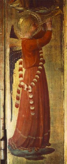 Le Tabernacle des Liniers (détail: Ange jouant de la Trompette), par Fra Angelico