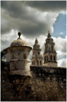 city wall and cathedral- Campeche, Mexico