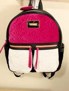 New BETSEY JOHNSON BACKPACK Velvet Floral Rose Black Pink White Bag Large  Betsey Johnson Backpack, e296609614