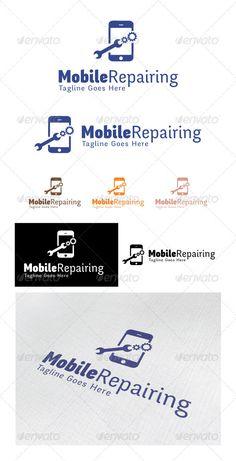 Logo Design Template, Logo Templates, Mobile Logo, Let's Have Fun, Computer Repair, Repair Shop, Smartphone, Graphic Design, Logo Ideas