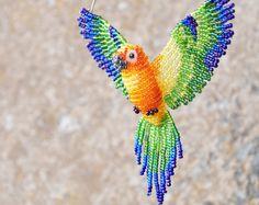 Sun Conure Suncatcher, Beaded Bird Ornament, Window Decor, Mirror Decor, Bird Necklace, Bird Figurine, Bird Lover Gift, Car Window Decor *B