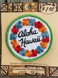 Aloha Hawaii Vintage Souvenir Travel Patch from Hawaiian Patch Works by HeydayRoadTrip on Etsy