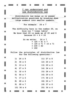 This worksheet contains 5 perimeter story problems that students can distributive law fandeluxe Images