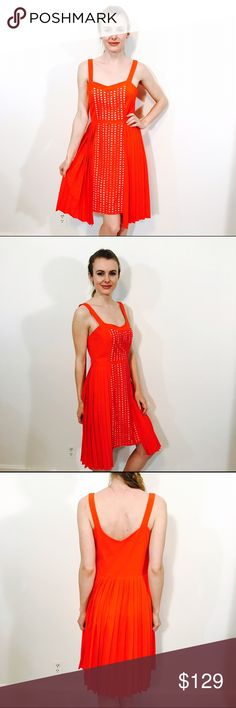 VESSEL BY TIMO WEILAND ANTHROPOLOGIE NERIA DRESS Playful embroidery and pleat dress, NWOT, no issues. A bright red orange color. Anthropologie Dresses