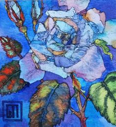 Sofia Perina-Miller/Blue Rose  Watercolour and Pen  20 x 20 cm
