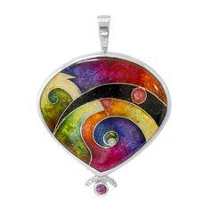 Sterling Silver, Rhodolite Garnet, Enamel Orbit Pendant by Ricky Frank Jewelry
