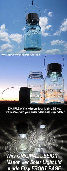 Garden Solar Jar Lights 6 Hanging Mason Jar Solar by treasureagain, $59.50