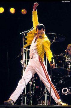 "Freddie Mercury, in his now ""iconic"" pose. 1986 Magic tour, Freddie's last."