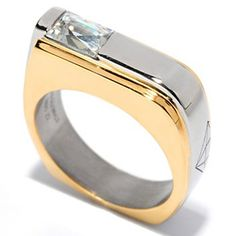TYCOON Mens Stainless Steel Two-tone TYCOON Cut Simulated Diamond Ring