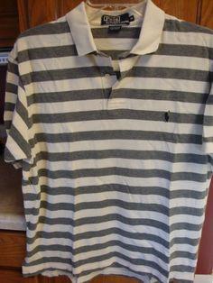 RALPH LAUREN POLO Mens shirt MEDIUM M Golf Short Sleeve Striped S/S Mans #RalphLauren #PoloRugby
