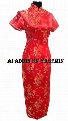 Fantastische lange rode chinese jurk