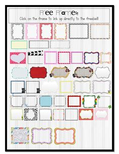Classroom Freebies Too: The 3AM Teacher Free Frames PDF Linky