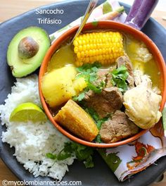 Sancocho Colombiano From: My Colombian Recipes Colombian Dishes, My Colombian Recipes, Colombian Cuisine, Colombian Sancocho Recipe, Mexican Food Recipes, Soup Recipes, Cooking Recipes, Healthy Recipes, Snacks
