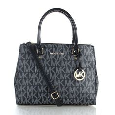 Michael Kors Sutton Logo Signature Medium Black Satchels