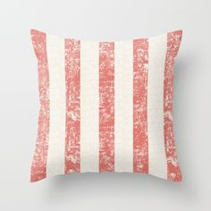 Maritime Beach Pattern- Red and White Stripes- Vertical - Throw Pillow