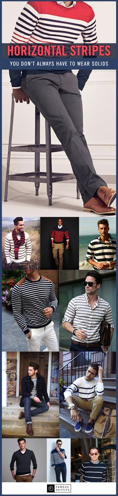 Men, you don't always have to wear solid colors. Sometimes, it's good to throw in a striped shirt or striped sweater in the mix. Here's a collection of striped outfit inspiration for men.