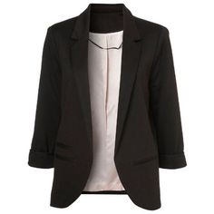 Black Boyfriend Ponte Rolled Sleeves Blazer ($32) ❤ liked on Polyvore featuring outerwear, jackets, blazers, tops, casacos, black, rolled sleeve blazer, boyfriend blazer, boyfriend jacket and ponte knit blazer