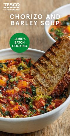 """Jamie Oliver says, """"Tuning with the seasons means you can make this beautiful soup all year round and it'll always taste different - it never gets old! The mixed veg gives it a minestrone vibe, but I' Batch Cooking, Cooking Recipes, Beef Recipes, Recipies, Healthy Soup, Healthy Eating, Healthy Pastas, Vegetarian Recipes, Healthy Recipes"""