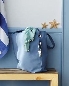 Beach Bag with Key Holder ~~Boost the functionality of any tote by adding a grommet and a carabiner for keys.