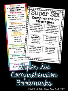 Super Six Comprehension Bookmarks Help students remember the Super Six Comprehension Strategies with these bright and colourful bookmarks! Also included in this pack is a quick reference page that can be printed and stuck in student work books. Reading Comprehension Strategies, Writing Strategies, Reading Resources, Teaching Strategies, Reading Skills, Teaching Reading, Reading Help, Reading Tips, Guided Reading