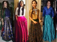 Indian Ethnic Long Skirts and Tops, Long Indian Skirts and Tops Online, Celebrities on Long Maxi Skirts and Tops, Celebrity Skirt Style. Long Skirt With Shirt, Long Skirt And Top, Indian Wedding Outfits, Indian Outfits, Indian Attire, Indian Wear, Long Skirt Outfits, Long Skirts, Maxi Skirts