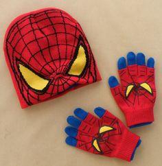 2-6 T Kids Boys Spider-Man Warm Two Piece Suit Hat + Gloves 2014 Winter New Design Cartoon Children Knitted Hats For Boys