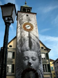 Clock tower mural