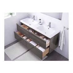 """IKEA - GODMORGON / ODENSVIK, Sink cabinet with 4 drawers, black-brown, 55 1/8x19 1/4x25 1/4 """", , 10-year Limited Warranty. Read about the terms in the Limited Warranty brochure.Smooth-running and soft-closing drawers with pull-out stop.You can easily change the size of the box by moving the divider.You can easily see and reach your things because the drawers pull out fully.Drawers made of solid wood, with bottom in scratch-resistant melamine.Perfect for more than one since the sinks has two…"""