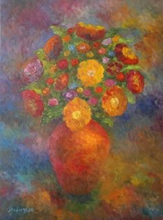 "Saatchi Art Artist Stefan Silvestru; Painting, ""Vase of flowers"" #art"
