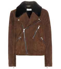 Saint Laurent and suede were clearly made for each other. A shearling collar is the perfect finish to this gorgeous jacket, which is decorated with zips galore. Wear it for the ultimate in badass chic. Buy Leather Jacket, Brown Suede Jacket, Suede Moto Jacket, Leather Jackets, Saint Laurent, Moncler, Michael Kors Coats, E Biker, Riders Jacket