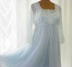 "ef99666355 Vintage Olga Peignoir Bridal Chiffon Peignoir Set NIB ""The Denver"" Chiffon  Slippers Powder Blue 36 by Voila Vintage Lingerie"